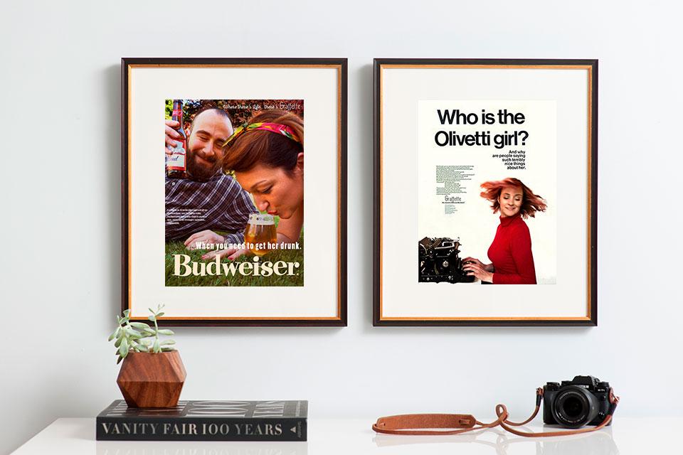 Graffette riporta in scena pubblicità di brand storici come Budweiser e Olivetti.