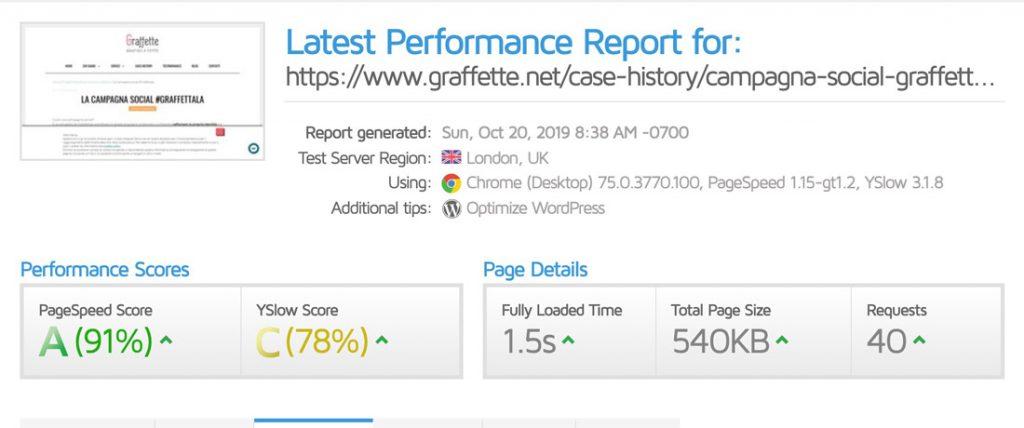 Risultato di ottimizzazione WordPress con GTmetrix