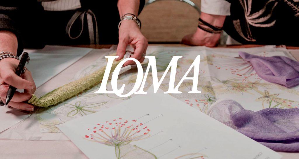 Logo Loma S.p.a. su sfondo fotografico con alcuni bozzetti moda