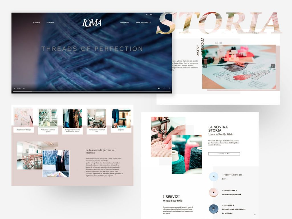 Schermate del sito web Loma S.p.a.