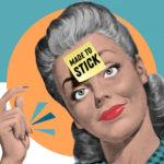 Donna anni '50 con post it sulla fronte