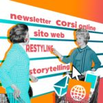 Due donne con carrello della spesa scelgono servizi web