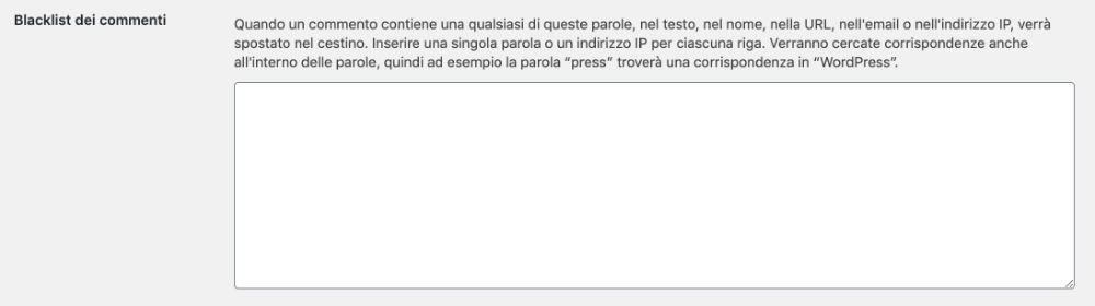 blacklist commenti spam wordpress