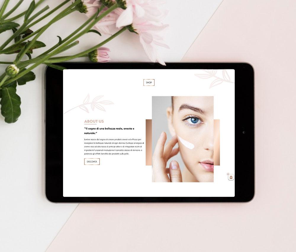 Sito web Lerève Beauty visualizzato su tablet